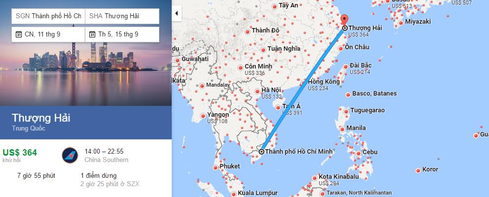 Bản đồ đường bay từ HCM đi Thượng Hải