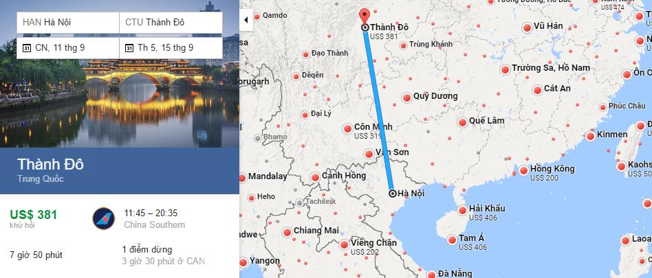 Bản đồ đường bay từ Hà Nội đi Thành Đô