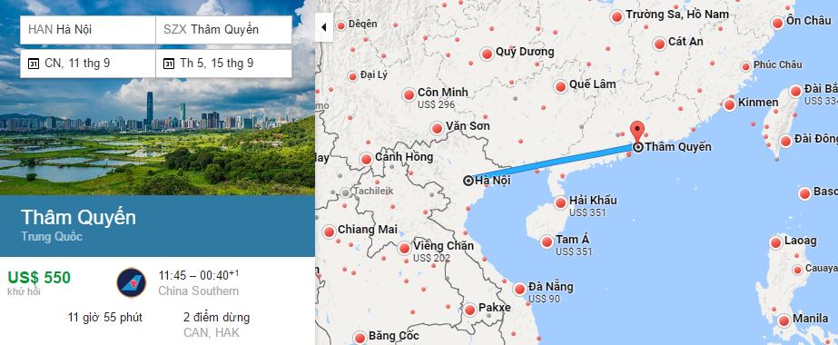 Bản đồ đường bay từ Hà Nội đi Thâm Quyến
