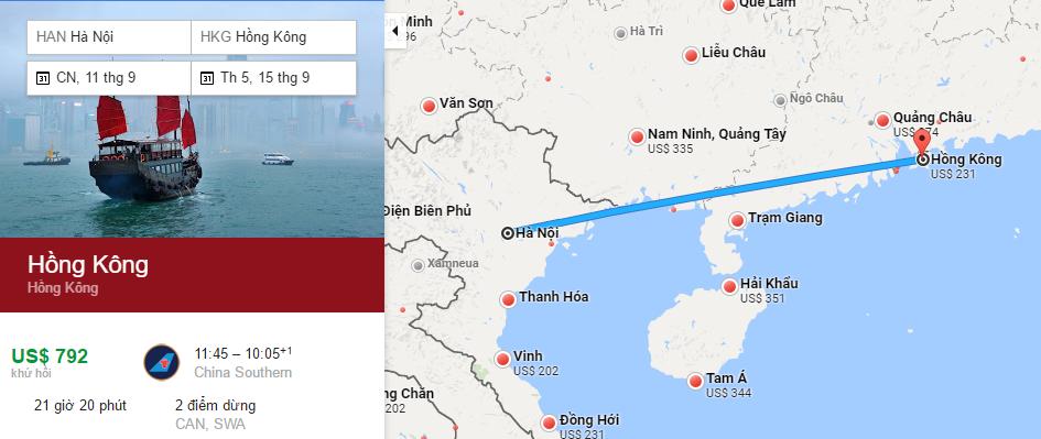 Bản đồ đường bay từ Hà Nội đi Hong Kong