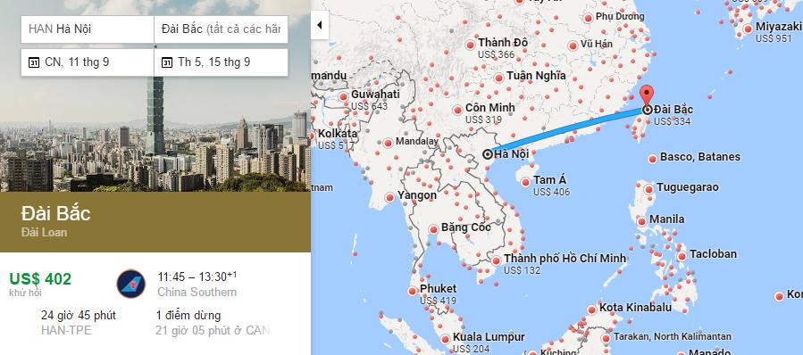 Bản đồ đường bay từ Hà Nội đi Đài Loan