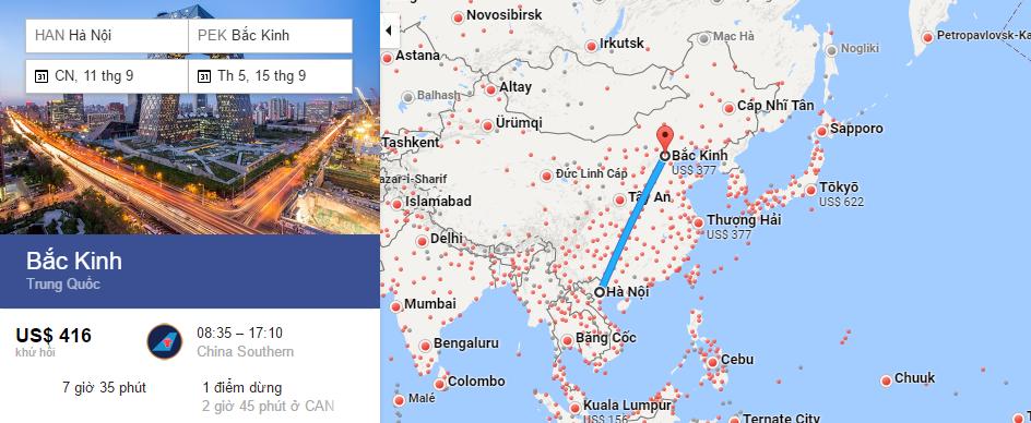Bản đồ đường bay từ Hà Nội đi Bắc Kinh