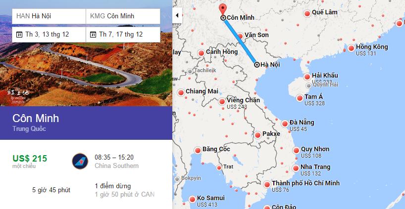 Bản đồ đường bay từ Hà Nội đi Côn Minh