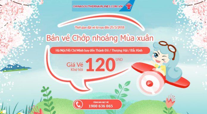 China Southern Airlines mở bán vé khứ hồi từ 120 USD