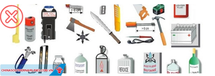 Những đồ vật mang tính chất vũ khí sẽ bị cấm hoàn toàn